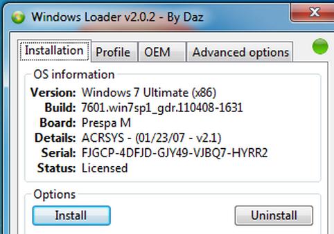 Windows 7 Activator Loader v2.2.2 By Daz 2019 + Key (32/64 bit)